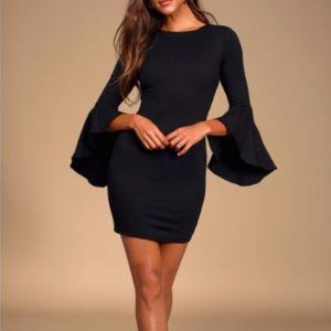 Lulu's Black Bell Sleeve Bodycon Dress Size Medium